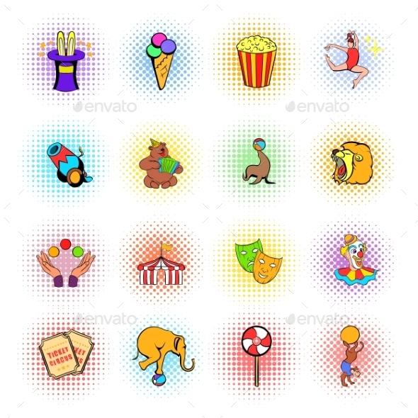 Circus Comics Icons Set - Miscellaneous Icons