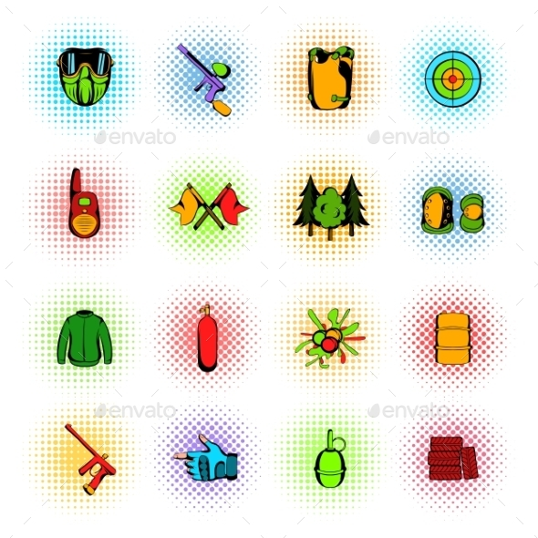 Paintball Game Comics Icons Set - Miscellaneous Icons