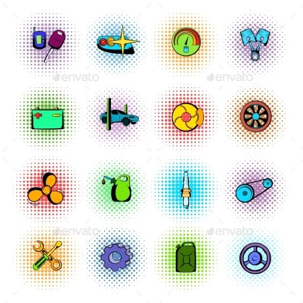Car Service Maintenance Icons Set - Miscellaneous Icons