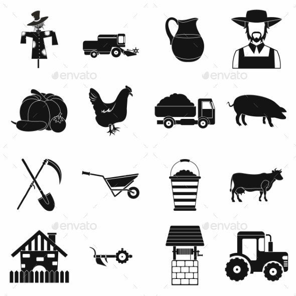 Farm Black Simple Icons Set - Miscellaneous Icons