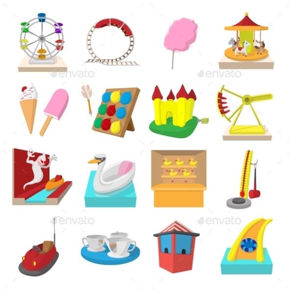 Amusement Park Cartoon Icons - Miscellaneous Icons