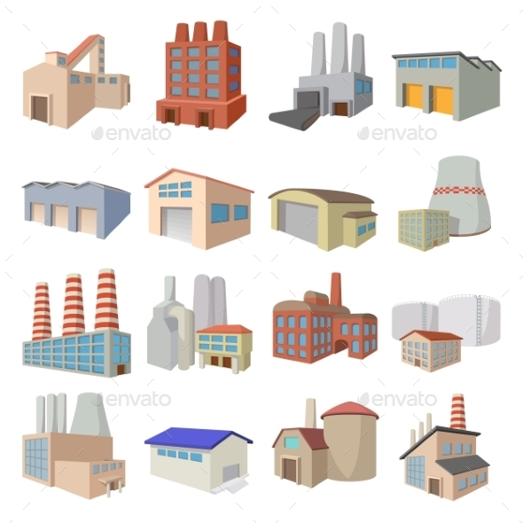 Industrial Building Factory Icons - Miscellaneous Icons