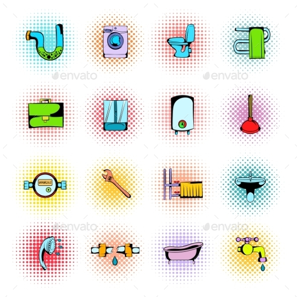 Sanitary Engineering Comics Icons - Miscellaneous Icons