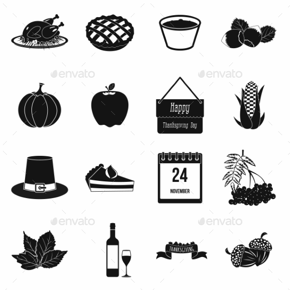 Thanksgiving Day Black Simple Icons - Miscellaneous Icons