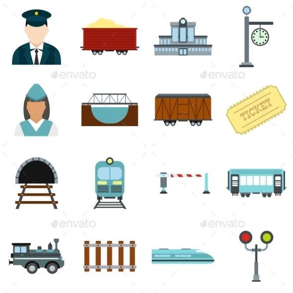 Railroad Flat Icons Set - Miscellaneous Icons