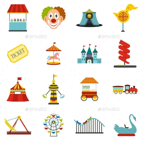 Amusement Park Flat Icons Set - Miscellaneous Icons
