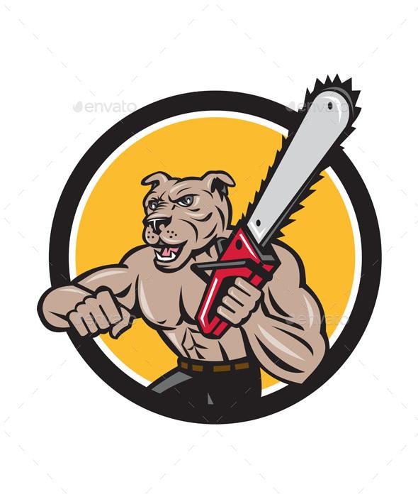Canine Lumberjack Tree Surgeon Arborist Chainsaw Circle - Animals Characters