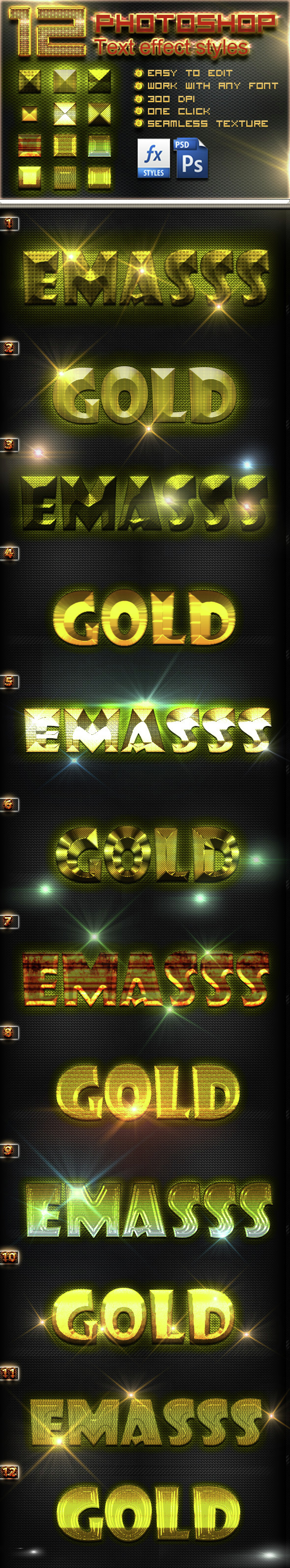12 Photoshop Gold Text Effect Styles Vol 14 - Text Effects Styles