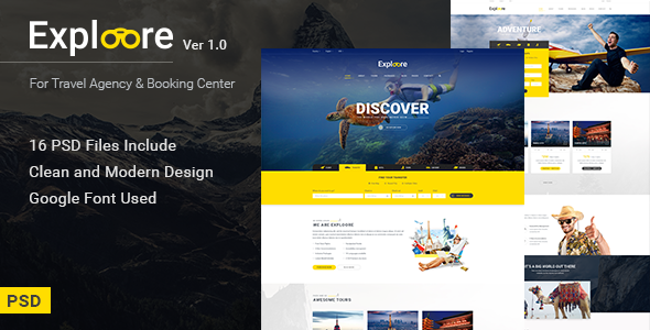 EXPLOORE – Travel, Exploration, Booking PSD Template
