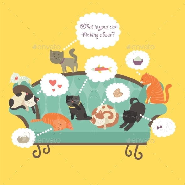 Cats with Speech Bubble - Animals Characters
