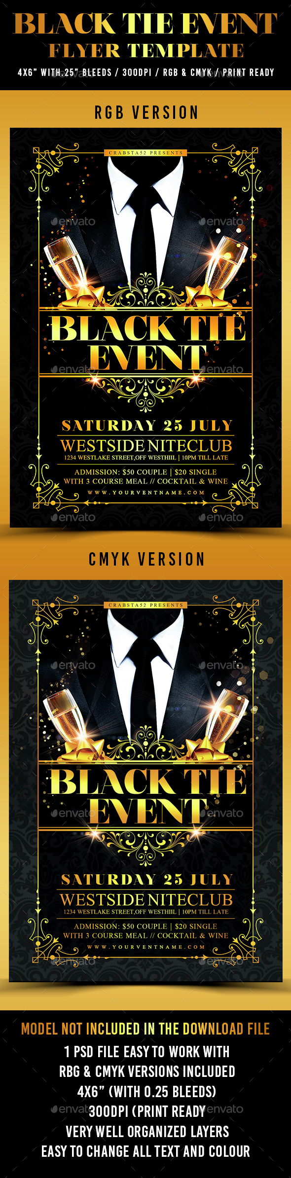 Black Tie Event Flyer Template - Clubs & Parties Events