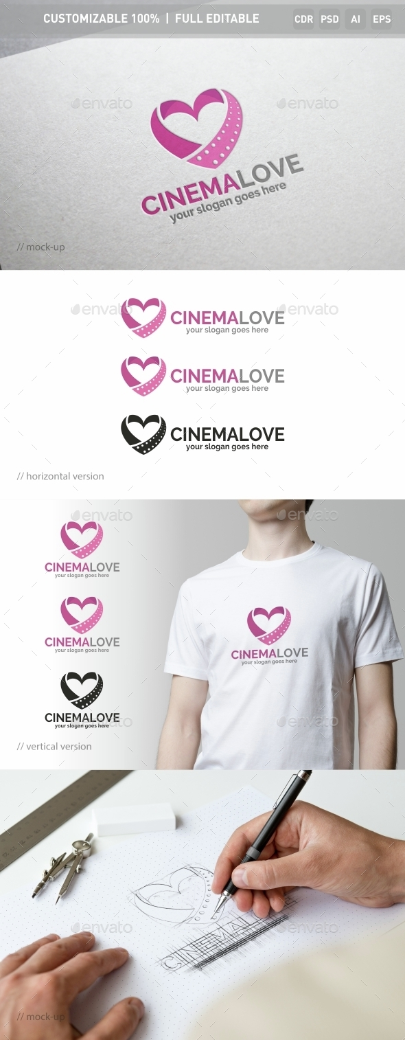 Cinema Love Logo Template - Objects Logo Templates