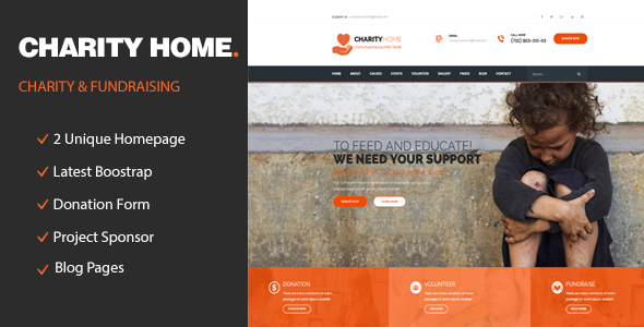 Charity Home – Responsive HTML Template for Charity & Fund Raising