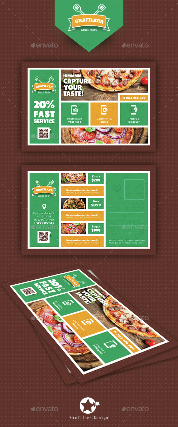 Pizza App Postcard Templates - Cards & Invites Print Templates