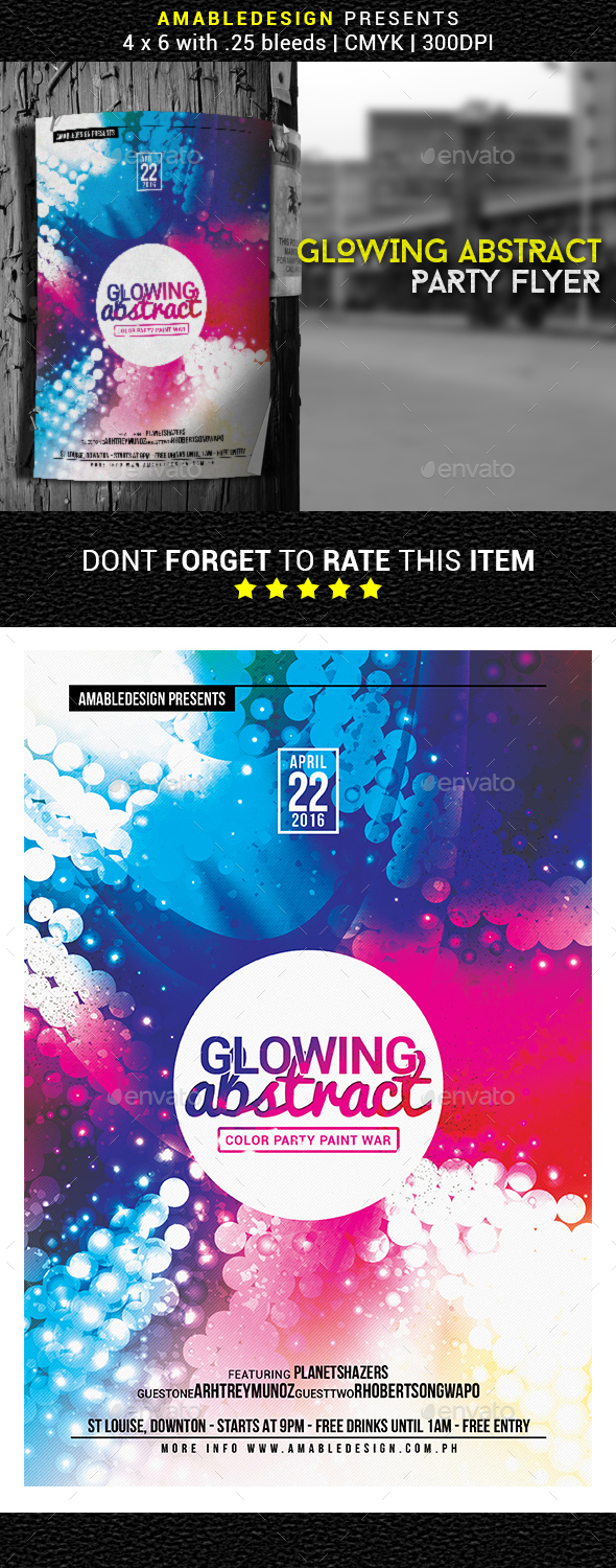 Glowing Abstract Flyer/Poster - Clubs & Parties Events