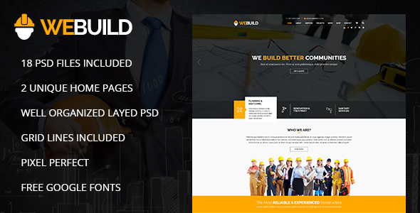 WEBUILD – Construction & Building PSD Template - Business Corporate