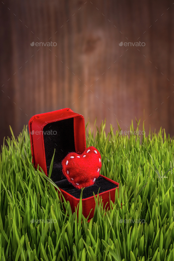 Red felt heart - Stock Photo - Images