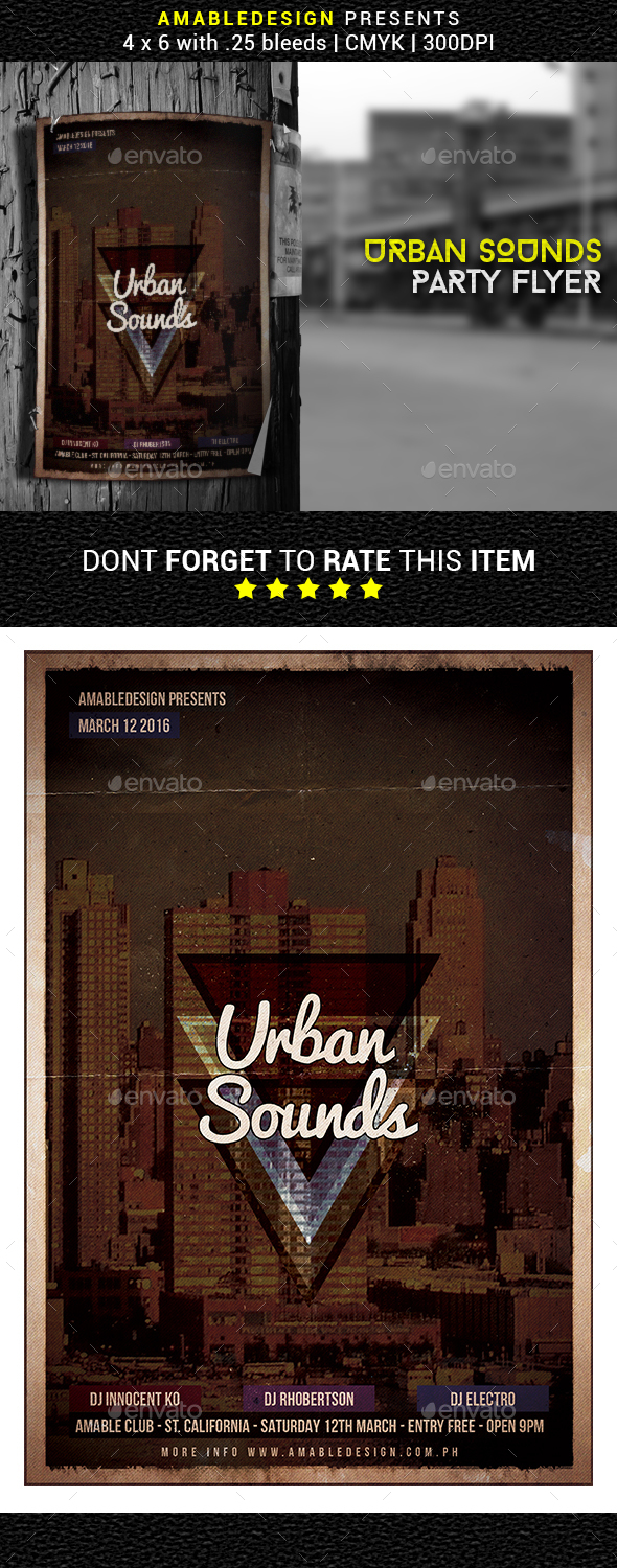 Urban Sounds Flyer/Poster - Clubs & Parties Events