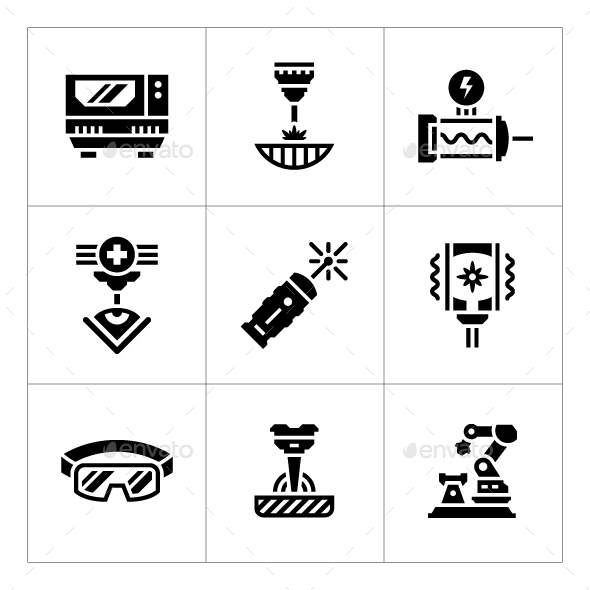 Set Icons of Laser - Man-made objects Objects