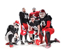 The five american football players posing with ball on white background - PhotoDune Item for Sale