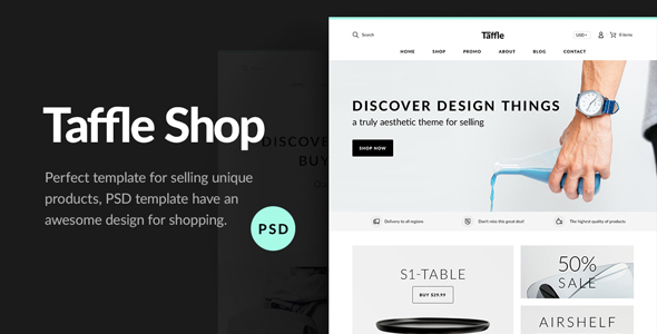 Taffle — Clean Shop PSD Template