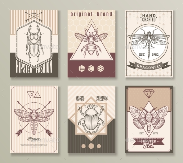 Insects Hipster Cards Set - Animals Characters