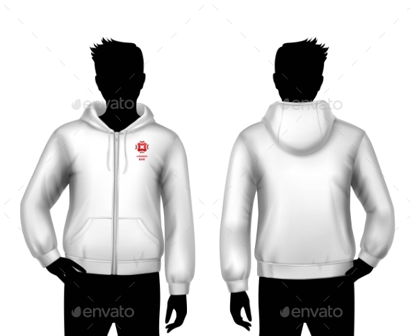 Hooded Sweatshirt Template - Decorative Symbols Decorative