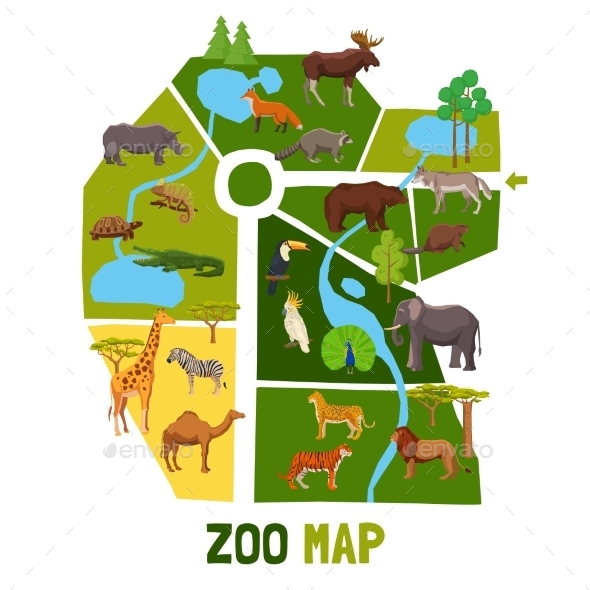 Cartoon Zoo Map with Animals - Animals Characters