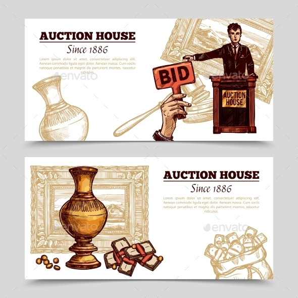 Auction House Hand Drawn Banners - Miscellaneous Vectors