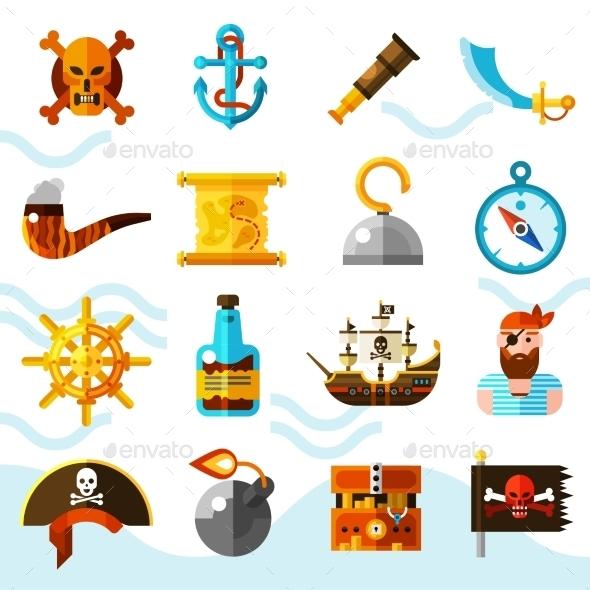 Pirates Color Icons Set - Decorative Symbols Decorative