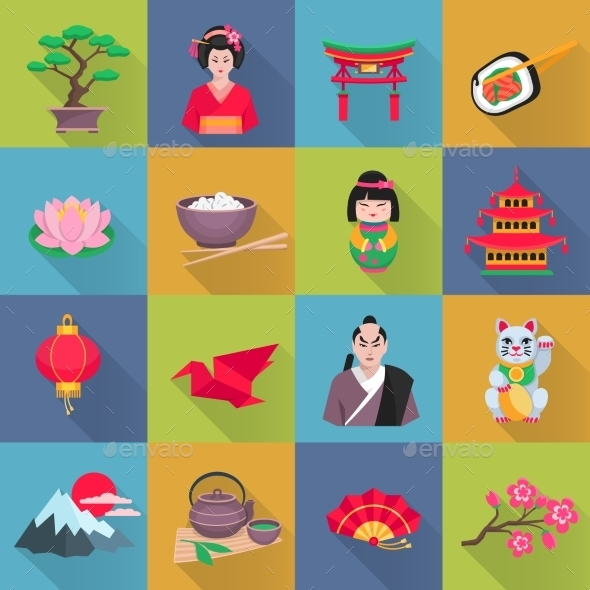 Japanese Culture Symbols Flat Icons Set - Miscellaneous Icons