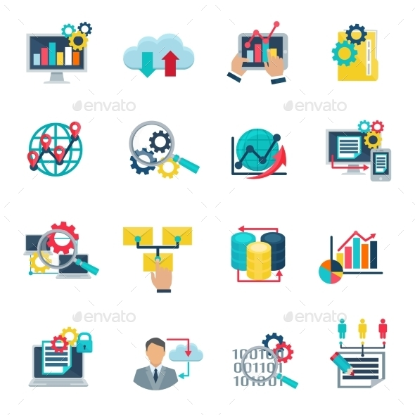 Big Data Analytics Flat Icons - Technology Icons