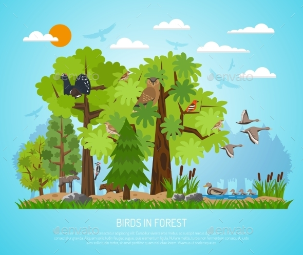 Poster of Birds in Forest - Landscapes Nature