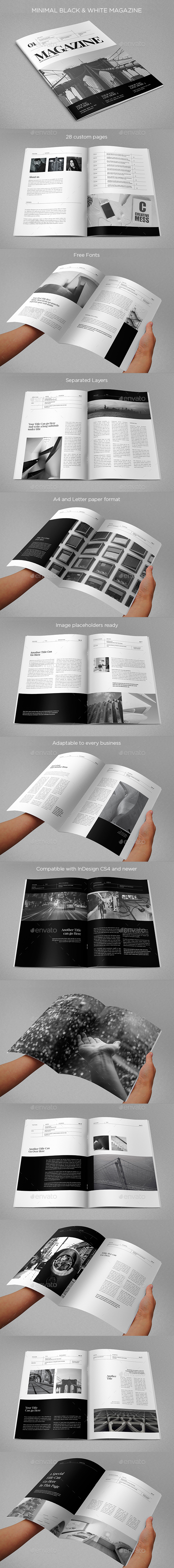 Minimal Black & White Magazine - Brochures Print Templates