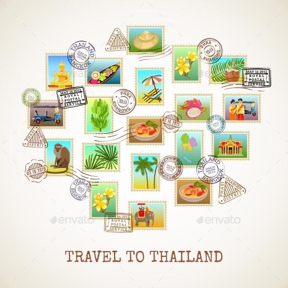 Thailand Postcard Poster - Decorative Symbols Decorative