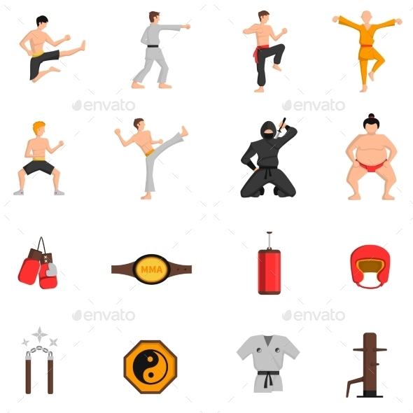 Martial Arts Icons Set  - People Characters