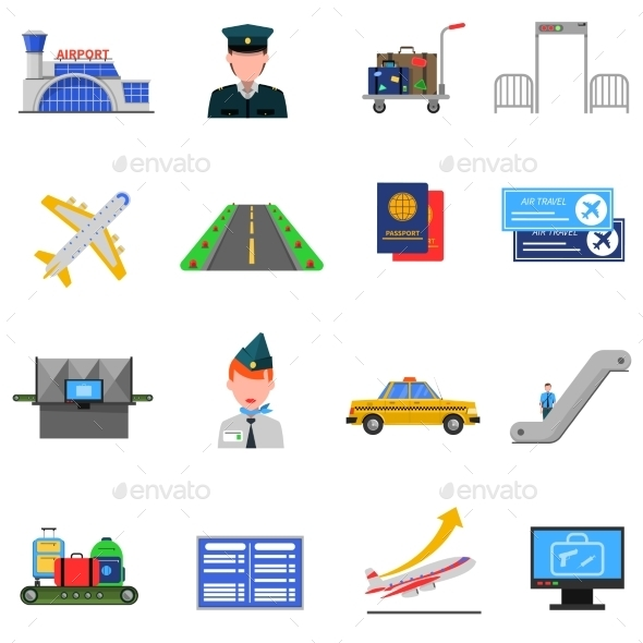 Airport Icons Set - Man-made objects Objects