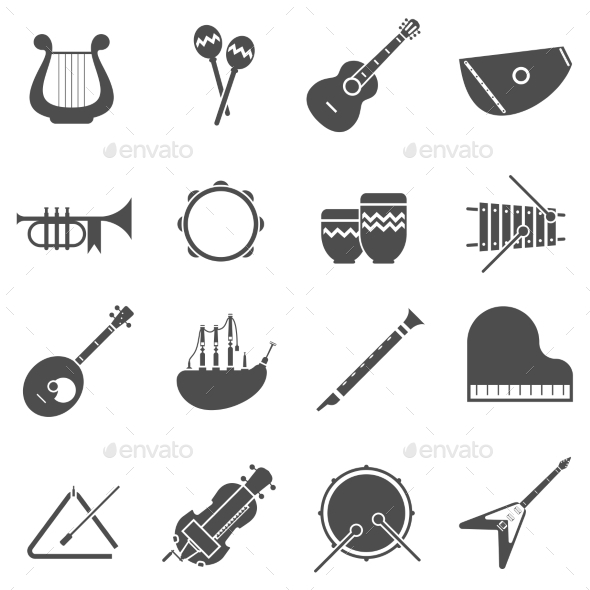 Musical Instruments Black White Icons Set - Man-made objects Objects