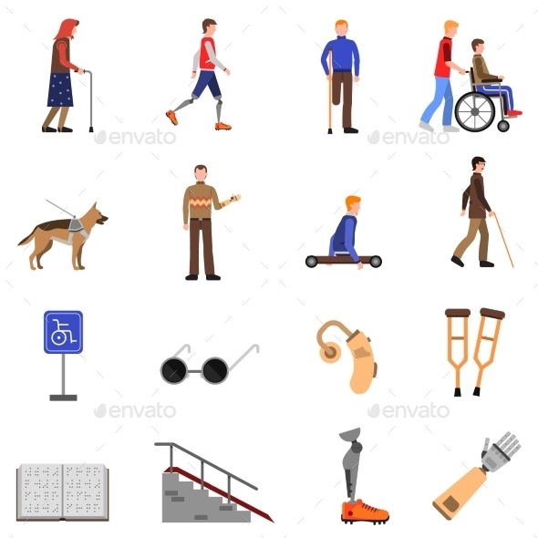 Disabled Handicapped People Flat Icons Set  - Miscellaneous Icons