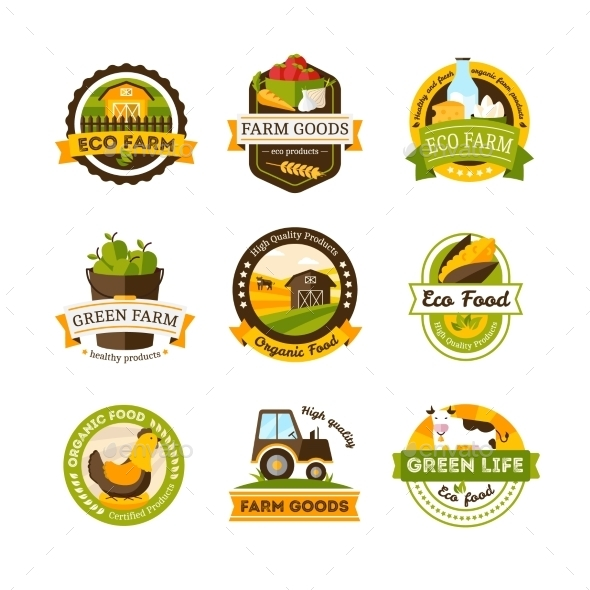 Organic Food Farm Emblems - Organic Objects Objects