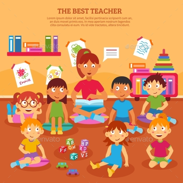 Kids Teacher Poster - People Characters