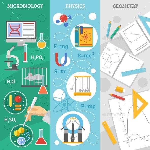 Science 3 Flat Banner Set - Backgrounds Decorative