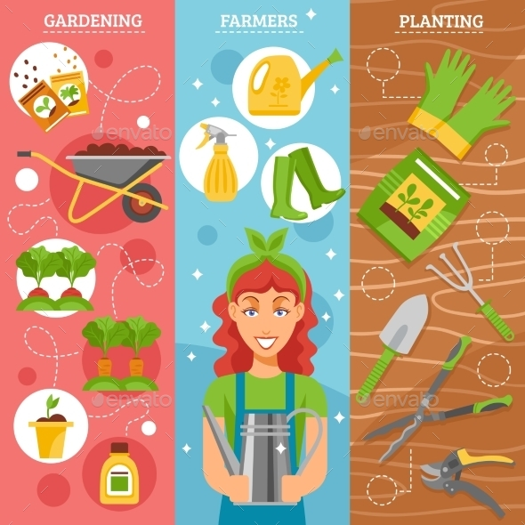 Farmers Gardening 3 Flat Banners Set - Miscellaneous Conceptual