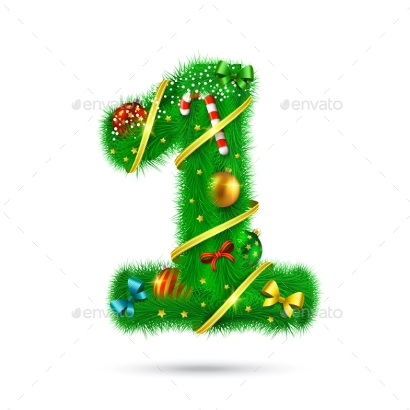 Fir Tree Decorative Number - Christmas Seasons/Holidays