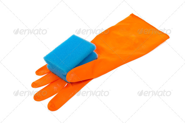 Rubber glove and kitchen sponge - Stock Photo - Images