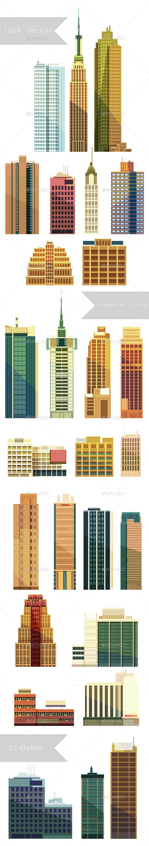 City Buildings Set  - Buildings Objects