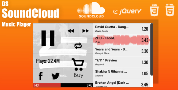 DS SoundCloud Custom Music Player - CodeCanyon Item for Sale