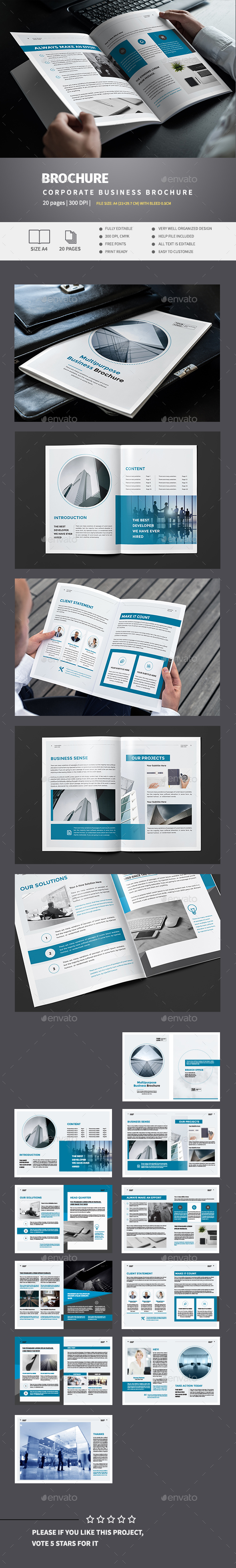 Blue Business Brochure Template - Corporate Brochures