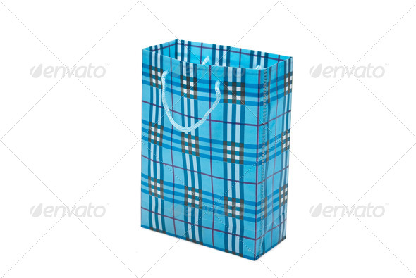 Blue bag with purchases - Stock Photo - Images