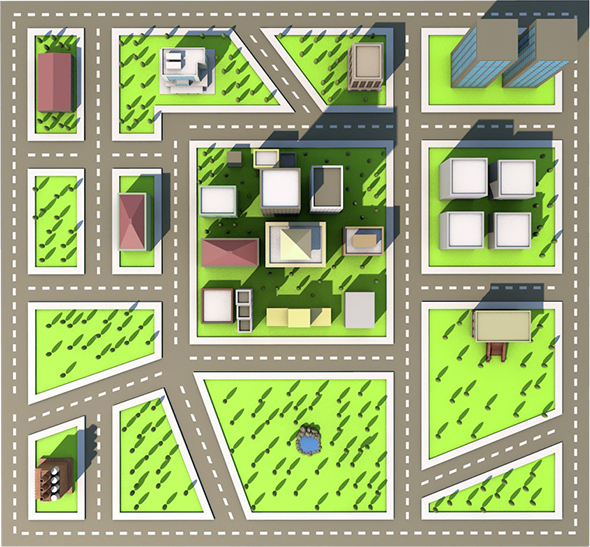 Low Poly City - 3 (Ready to Render - 3DOcean Item for Sale